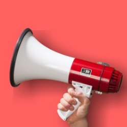 megaphone on red background